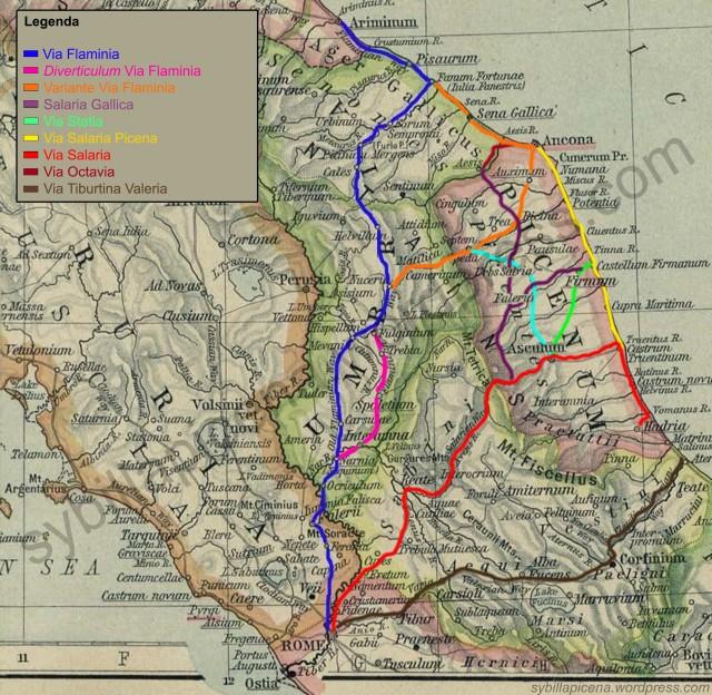 La mappa mostra gli itinerari delle principali vie romane che collegavano Roma al Piceno. Precisiamo che alcuni percorsi sono basati su teorie e ipotesi di ricerca e attendono una conferma archeologica.